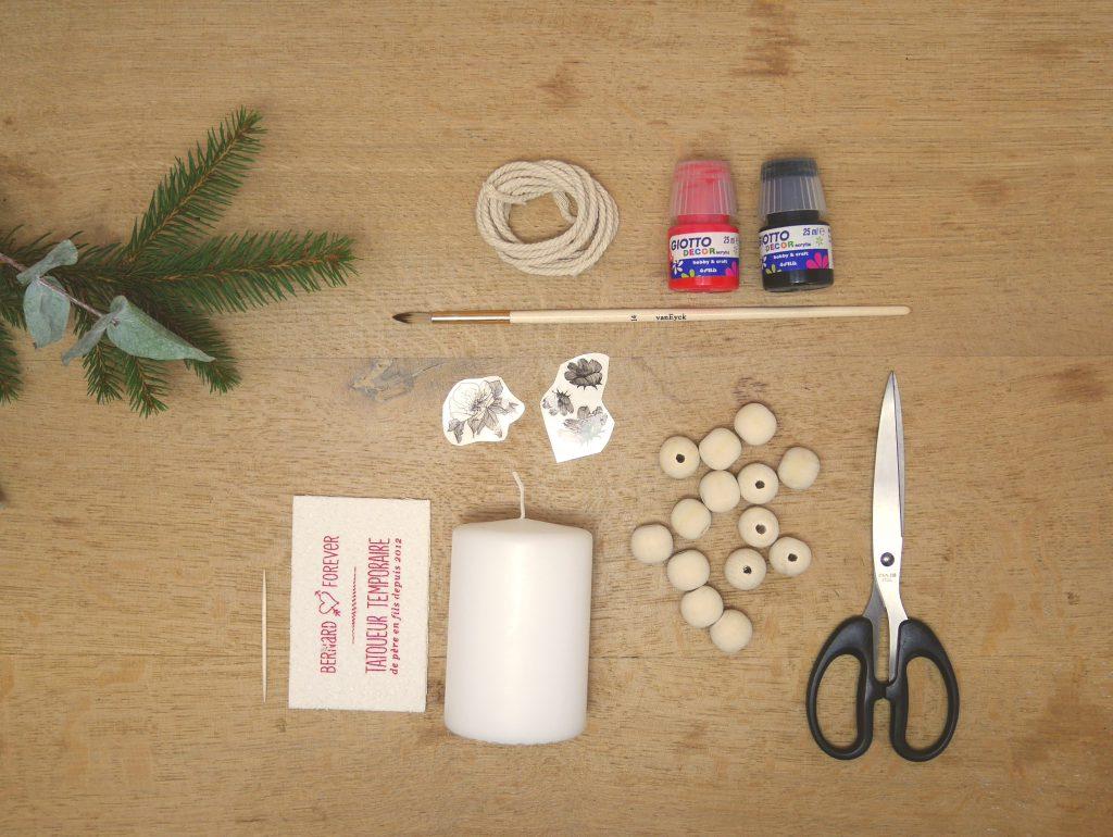 DIY bougie tatouée de Noël et bougeoir perlé
