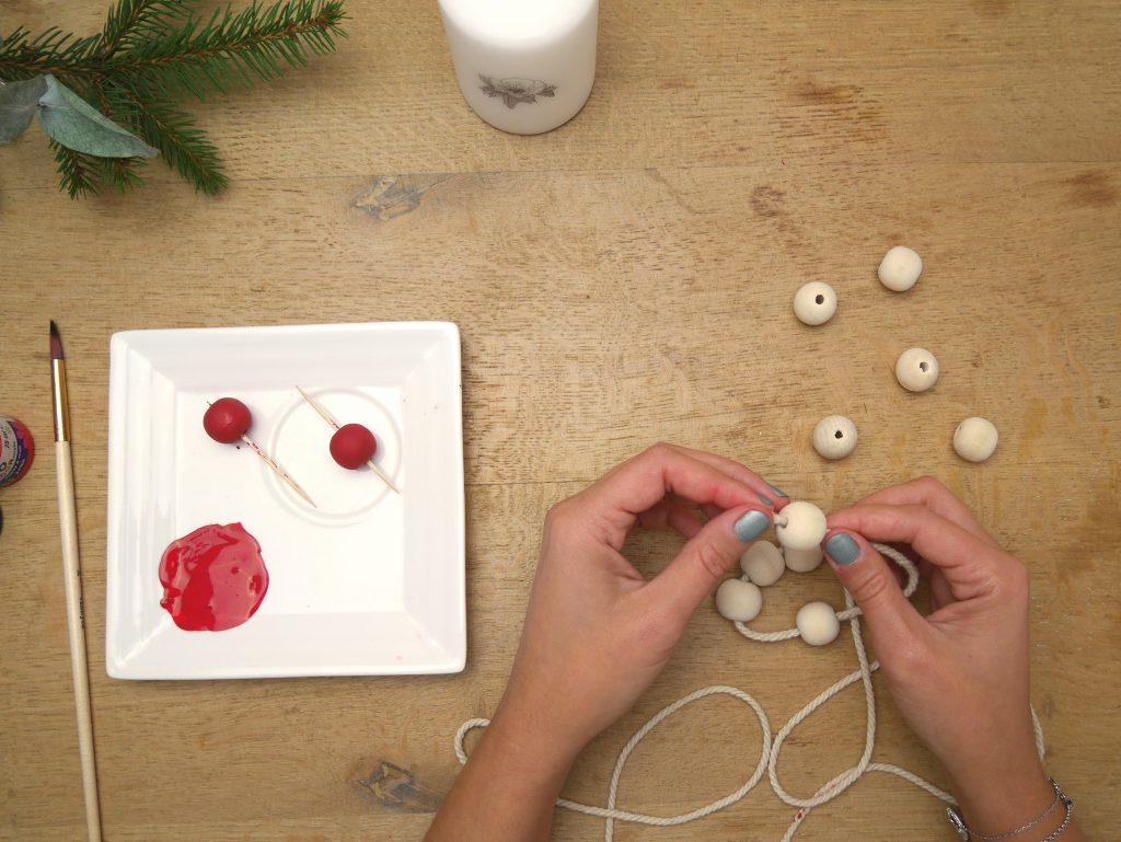 Tuto bougeoir avec des perles en bois